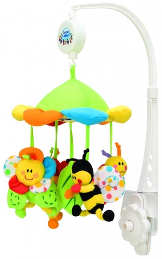 Karuzela z baldachimem Canpol Babies Kolorowa łąka z pozytywką i kolorowymi zabawkami do zamocowania na dziecięcym łóżeczku