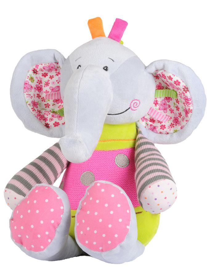 Zabawka welurowa z grzechotką słonik BabyOno