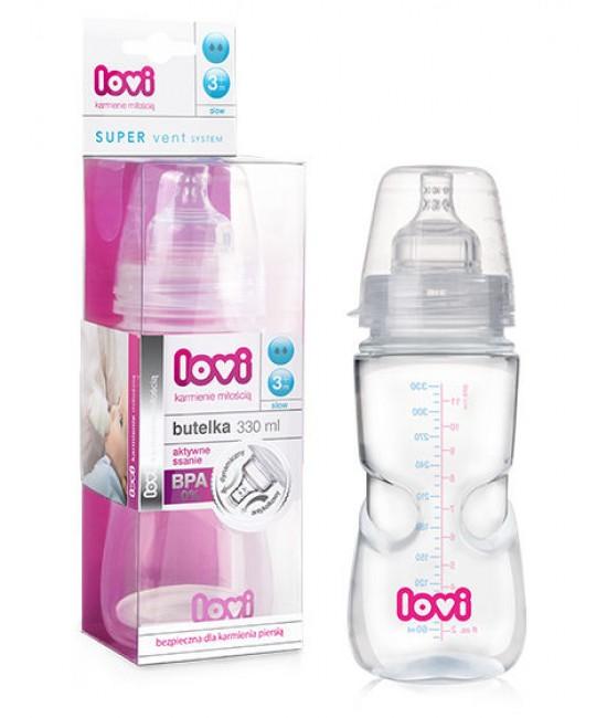 Butelka do karmienia Lovi aktywne ssanie z systemem Super Vent 330 ml 3m+