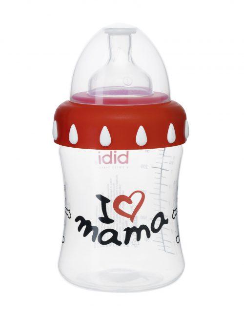 Plastikowa butelka antykolkowa z szeroką szyjką Bibi Mama Classic 250 ml - smoczek silikonowy