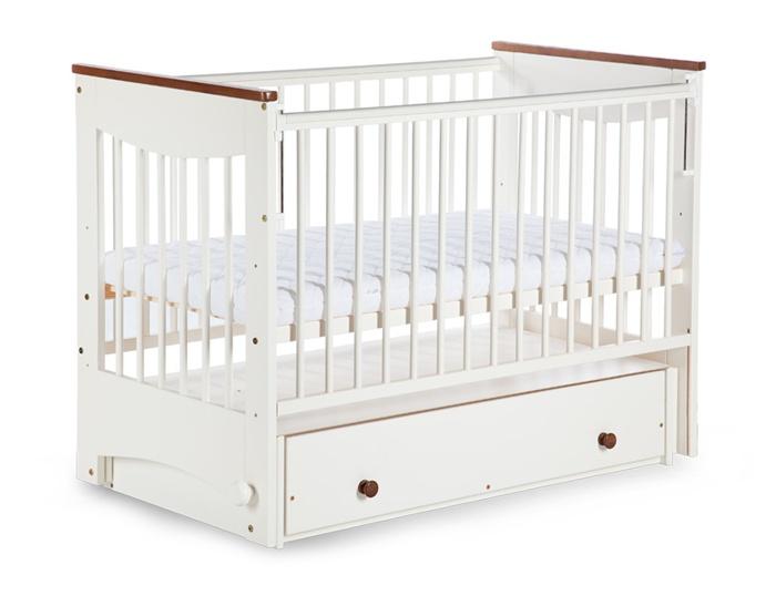 Łóżeczko dziecięce Luna Klupś z funkcją kołyski z opuszczanym bokiem i szufladą 120x60 cm ecru-orzech włoski