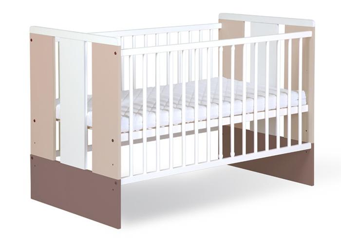 Dziecięce łóżeczko z drewna sosnowego i płyty meblowej 120 x 60 cm - Paula Latte Klupś