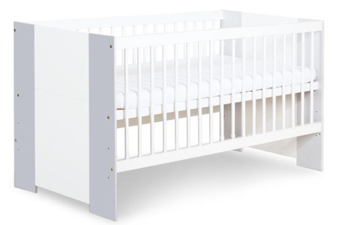 Dwufunkcyjne łóżeczko dziecięce Bartek II 140x70 Safari De Luxe Klupś - biały/popiel