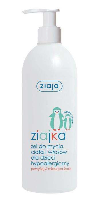 Hypoalergiczny żel do mycia ciała i włosów dla dzieci 6m+ Ziajka 400 ml