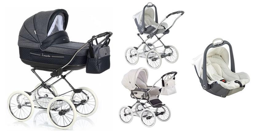 3w1 Marita Prestige - wózek Retro w stylowych kolorach + nowa elegancka torba najwyższa opcja + fotelik 0-13 kg Millo