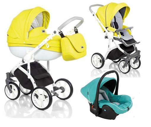3W1 Wózek Roan Bass Soft, wersja głęboka oraz spacerowa + fotelik samochodowy Poppi 0-10 kg