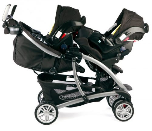 Stylowy podwójny wózek spacerowy Quattro Tour Duo z możliwością zamontowania fotelików Graco