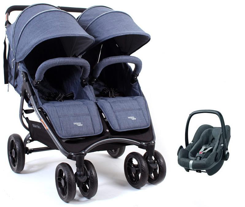 Ultralekki kompaktowy wózek spacerowy podwójny Valco Baby Snap Duo - Tailor Made 9,8 kg + fotelik samochodowy 0-13 kg