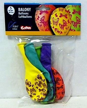 Balony urodzinowe premium motyle 5szt
