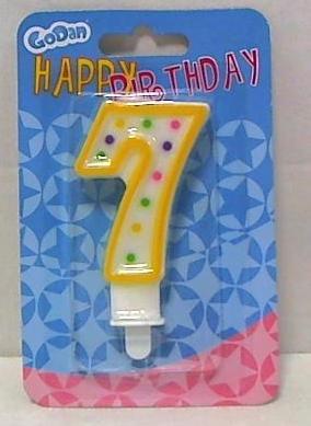 Świeczka urodzinowa cyferka z kropeczkami 7