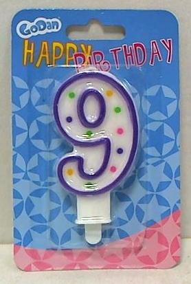 Świeczka urodzinowa cyferka z kropeczkami 9