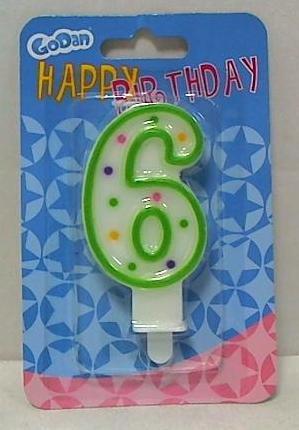Świeczka urodzinowa cyferka z kropeczkami 6