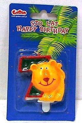Świeczka urodzinowa cyferka zoo 7
