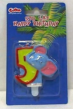 Świeczka urodzinowa cyferka zoo 5