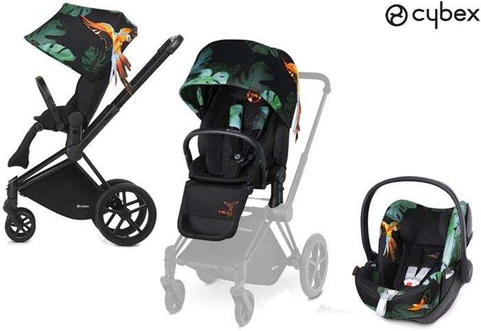 Wózek spacerowy siedzisko lux Priam kolekcja Brids of Paradise Cybex + fotelik samochodowy Cloud Q