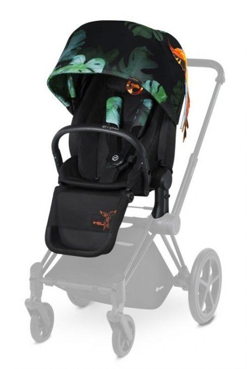 Wózek spacerowy siedzisko lux Priam kolekcja Brids of Paradise Cybex + fotelik samochodowy opcja baza isofix lub na pas