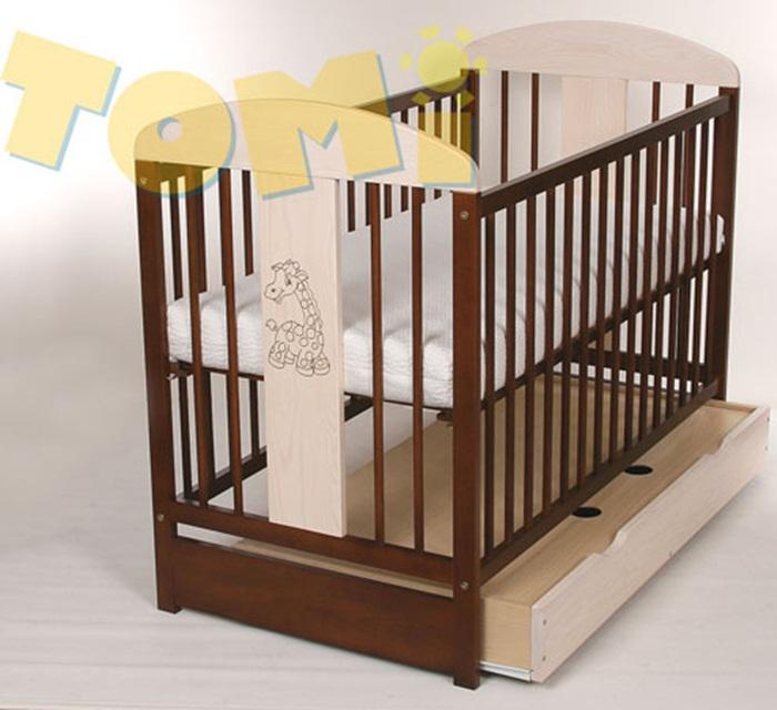 Drewniane łóżeczko dziecięce TOMI XII z szufladą