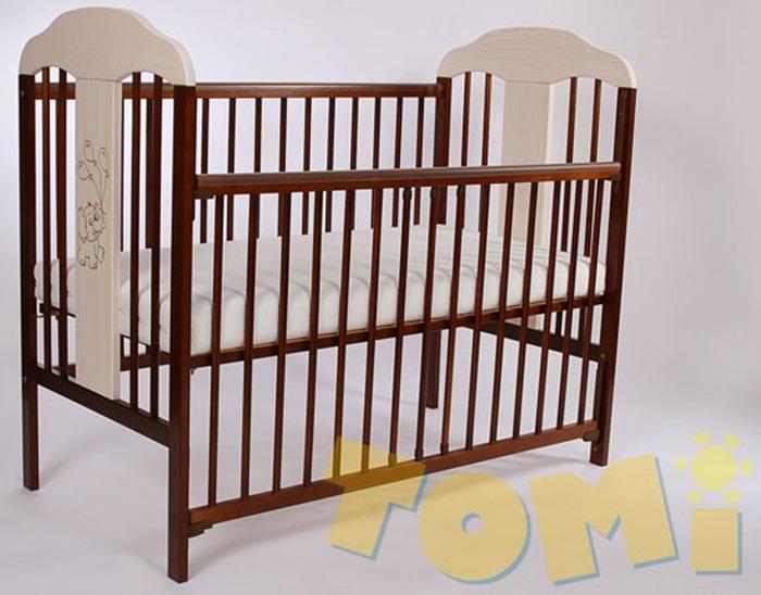 Łóżeczko dziecięce z drewna sosnowego TOMI XIV 120x60 z opuszczanym bokiem