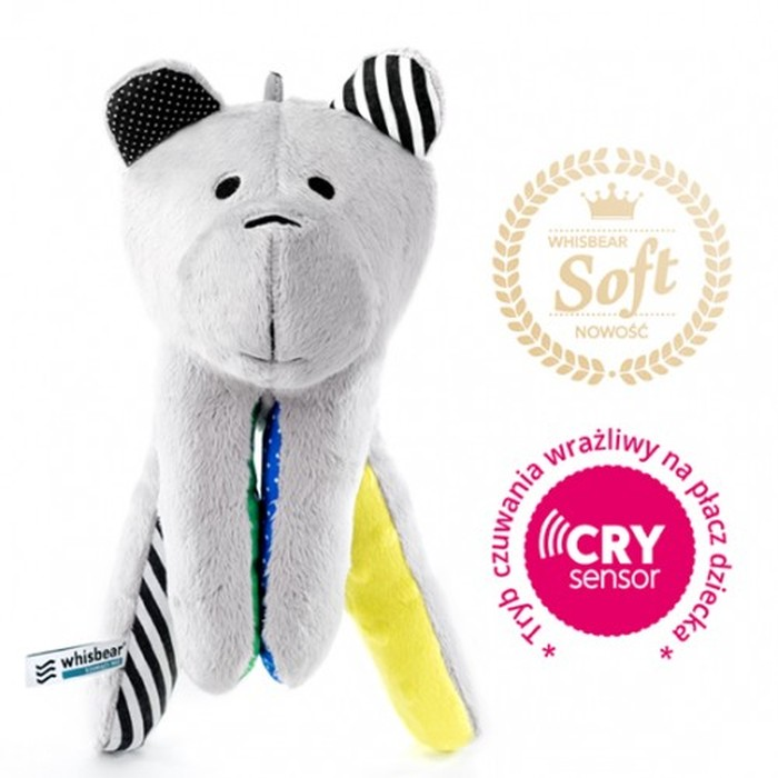 Whisbear Soft szumiącu miękki miś z funkcją CRY - cytrynowy