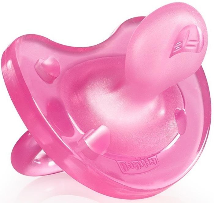 Silikonowe smoczki uspokajające dla dziewczynek Chicco Physio Soft 12m+