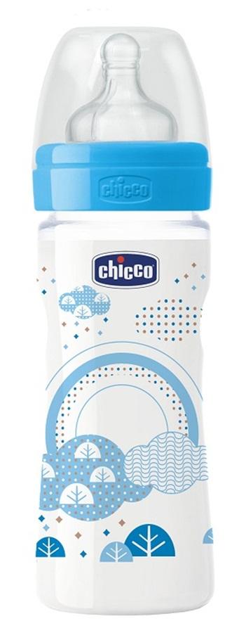 Chicco Weelbeing 250 ml silikonowy smoczek 2m+ niebieska