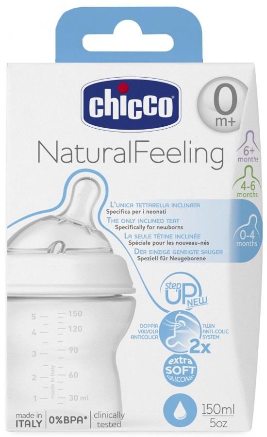 Plastikowa butelka do karmienia Chicco Step Up New 150 ml - smoczek silikonowy normalny