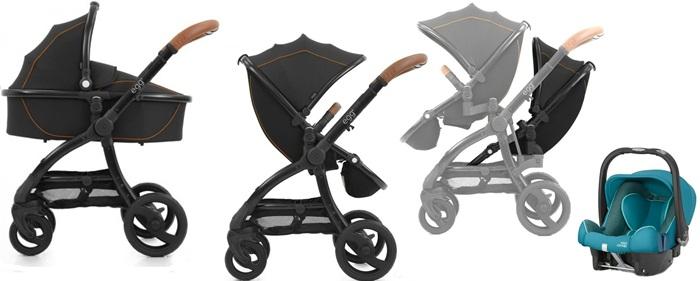 Wózek dla rodzeństwa - gondola głęboka + wózek spacerowy + 2 siedziska spacerowe + adaptery do montażu siedzisk + fotelik samochodowy -  Baby Style Egg