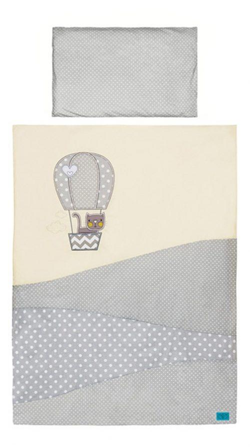 Pościel dla niemowląt 100x135 Balonowa Przygoda 3 częściowa szara z ecru  Belisima