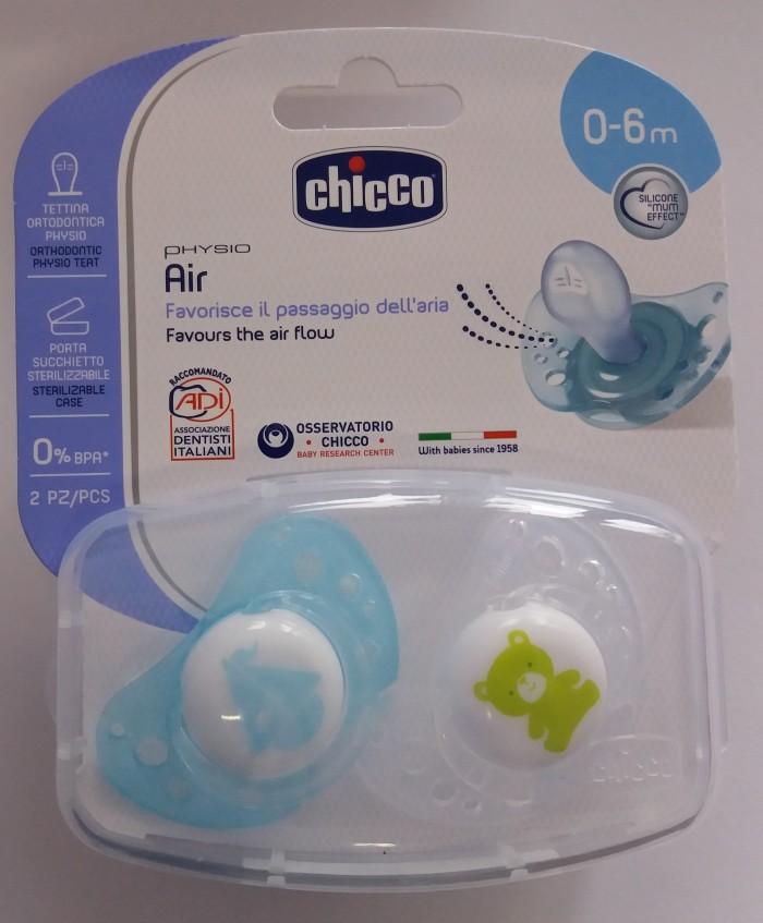 Chicco smoczek do uspokajania physio air silikonowy niebieski 0 m+   2 szt