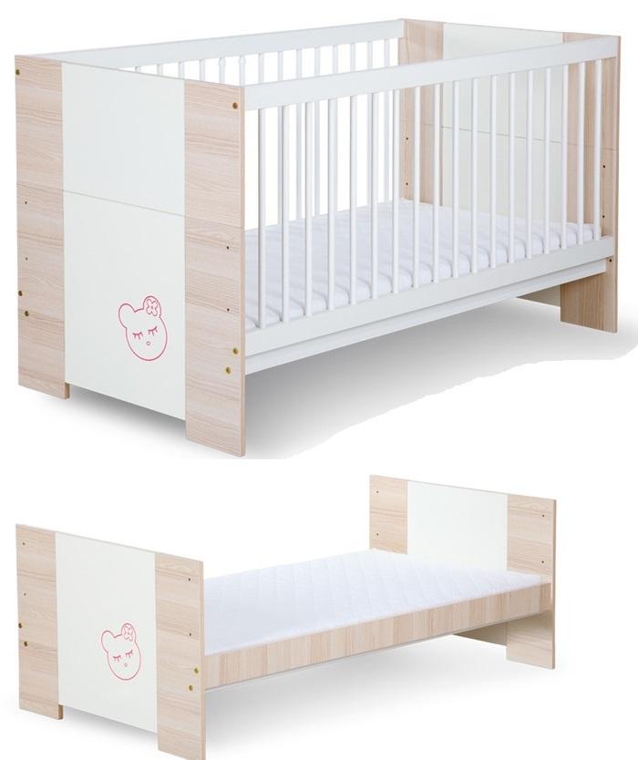 Łóżko dziecięce 140x70 cm z fukncją tapczanika Megi miś/buźka firmy Klupś