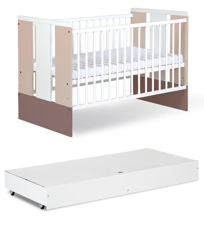 Dziecięce łóżeczko z drewna sosnowego i płyty meblowej z szufladą 120 x 60 cm - Paula Latte Klupś