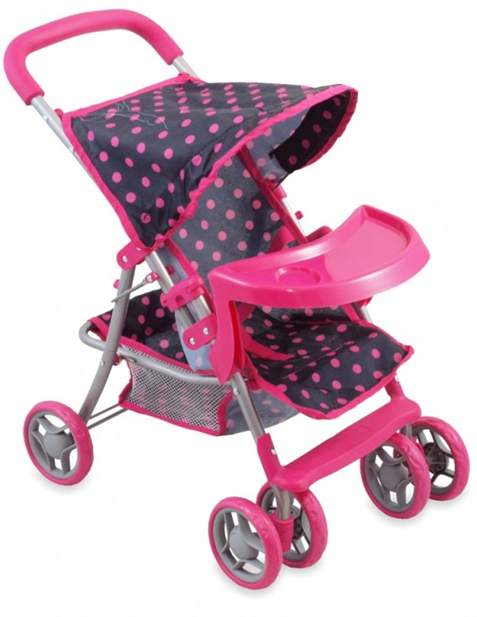 Wózek spacerowy lakowy z tacką, Alexis Baby Mix