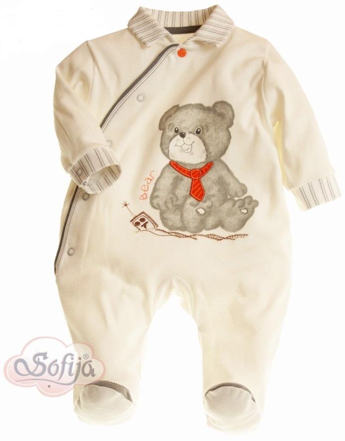 Bielizna dla niemowląt - pajacyk z bawełny 100% - Sofija kolekcja Szaruś 68