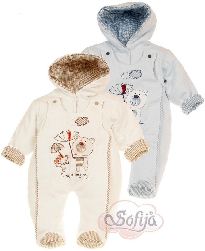 Ciepły pajacyk niemowlęcy z kapturem dla chłopca Sofija pajac Weselinek