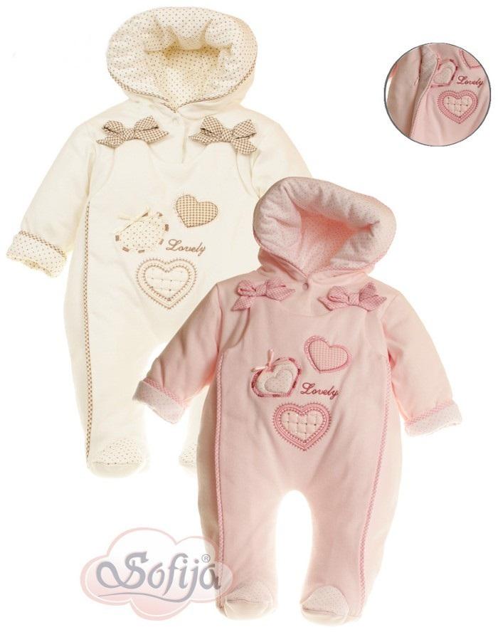 Ocieplany pajacyk niemowlęcy z kapturem dla dziewczynki Sofija pajac Weselinka