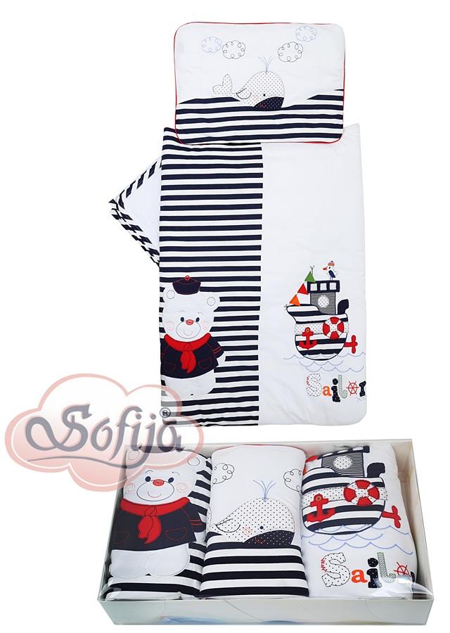 Pościel do łożeczka dzieciecego 135 x100 Morskie opowieśći 5 elementów Sofija
