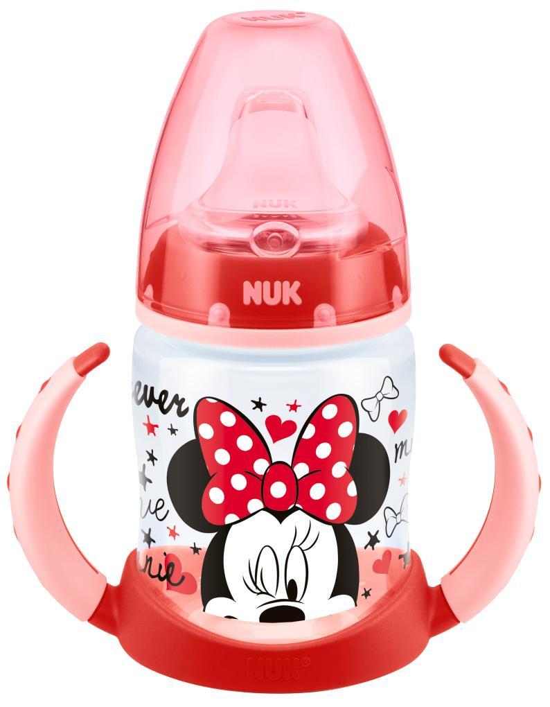 Butelka do nauki picia z ustnikiem niekapkiem i uchwytami Myszka Miki Nuk First Choice 150 ml Czerwona