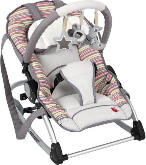 Leżaczek dla niemowląt Spirit Renolux z pałąkiem z zabawkami