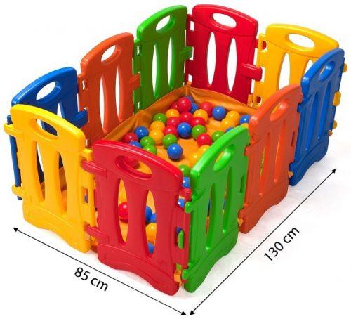 Płotek dla dzieci - 10 elementowy kojec z podłogą z materiału