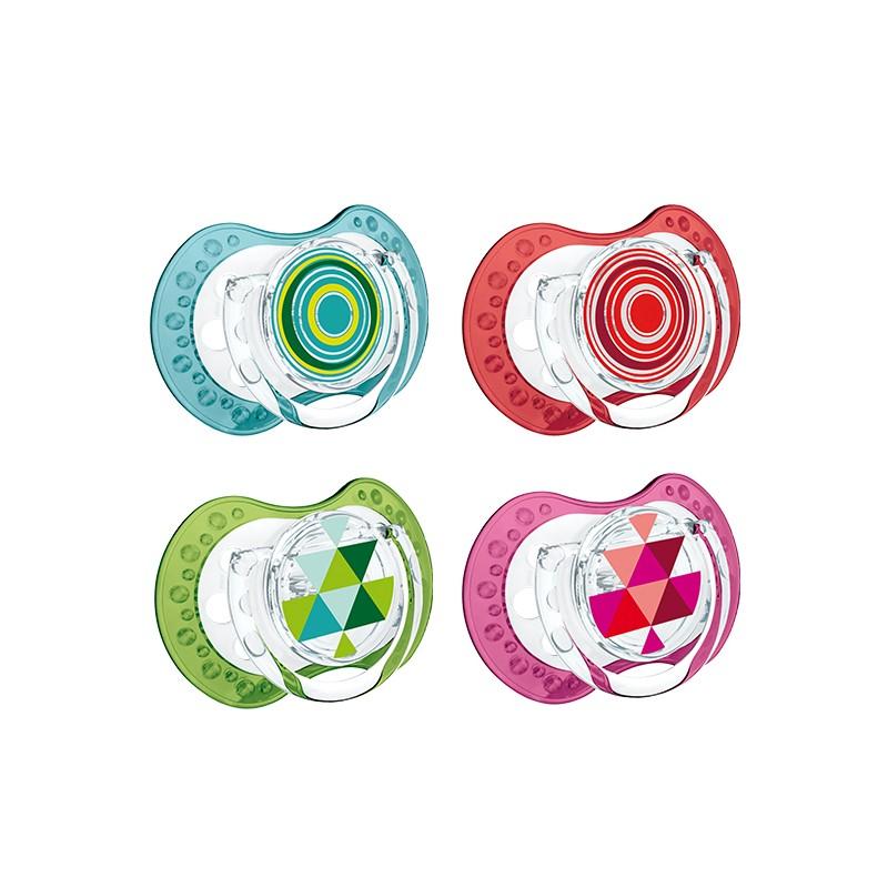 Dynamiczne silikonowe smoczki uspokajające Lovi 3-6 m kolekcja Etno 2 szt.