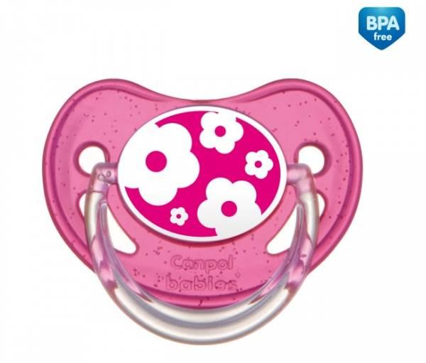 Uspokajający smoczek okrągły z wysokiej jakości silikonu Nature 18m Canpol Babies