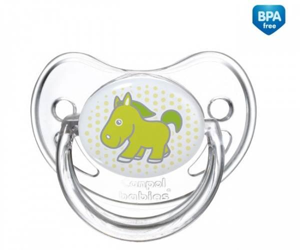 Uspokajające smoczki silikonowe z okrągłą gumką Canpol Babies Transparent 0-6m