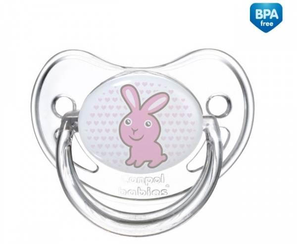 Uspokajające smoczki silikonowe z okrągłą gumką Canpol Babies Transparent 18 m+