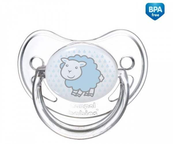 Uspokajające smoczki silikonowe z okrągłą gumką Canpol Babies Transparent 6-18 m+