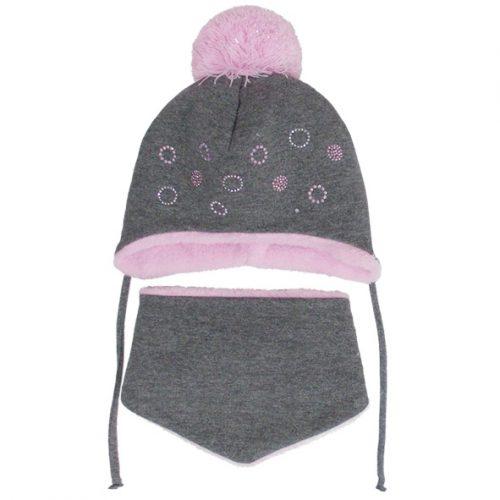 AJS Komplet zimowy czapka + chustka kółeczka