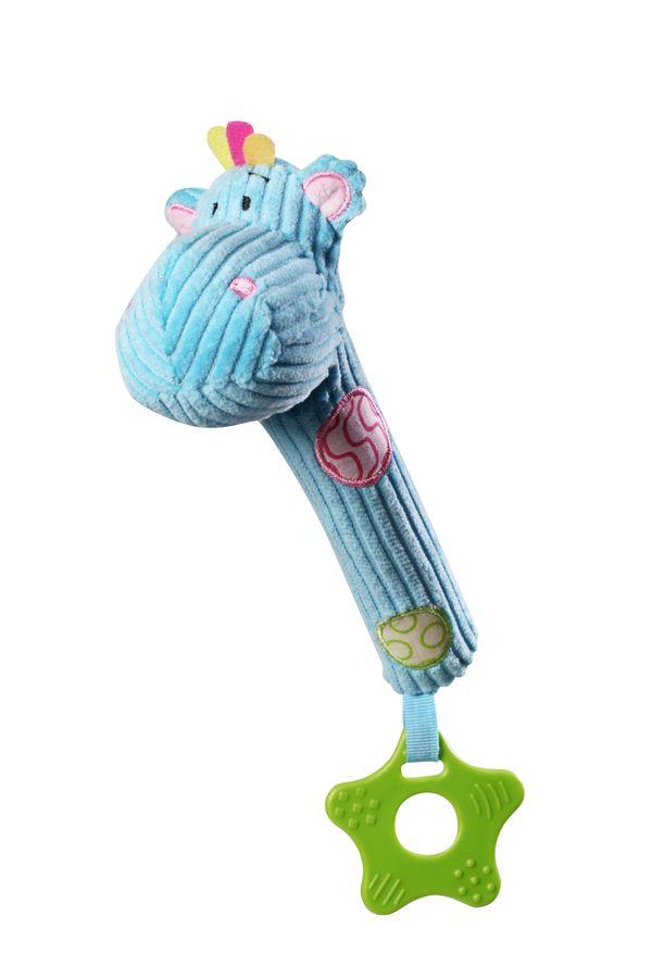 Sztruksowa piszcząca zabawka z gryzakiem BabyOno Hippo