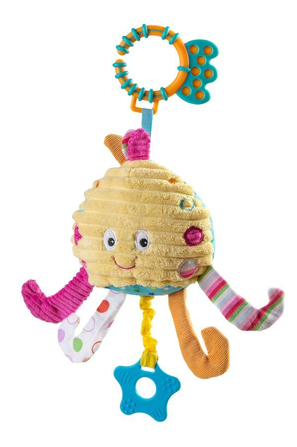 Zabawka welurowa z dźwiękiem wody i gryzakiem Ośmiornica BabyOno