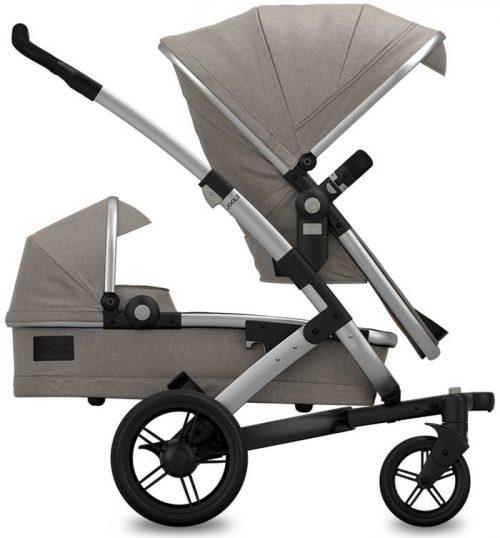 Joolz 3w1 wózek Geo Duo Studnio Gris dla rodzieństwa gondola, 2 x siedzisko, fotelik 0-13 kg z testami ADAC