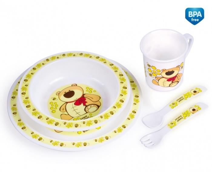 Plastikowy zestaw stołowy Canpol Babies - talerzyk, miseczka, kubek, sztućce
