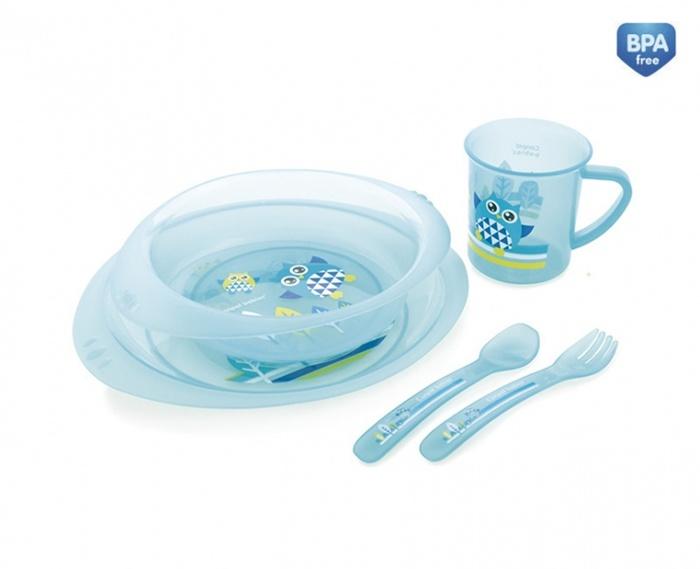 Plastikowy zestaw stołowy Canpol Babies - miska, talerzyk, kubek i sztućce